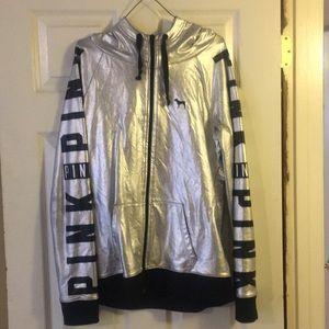 Silver zip up hoodie